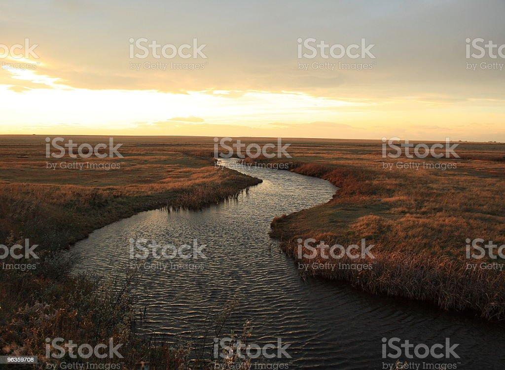 Prairie creek twists through grass at dusk stock photo