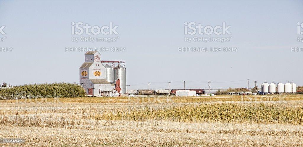 Prairie Fields with Grain Elevator stock photo