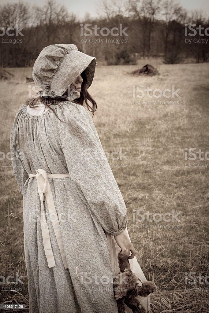 Prairie Girlwith Teddy Bear royalty-free stock photo