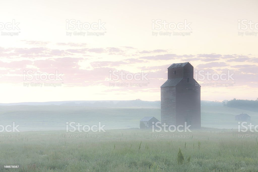 Prairie Grain Elevator in Fog stock photo