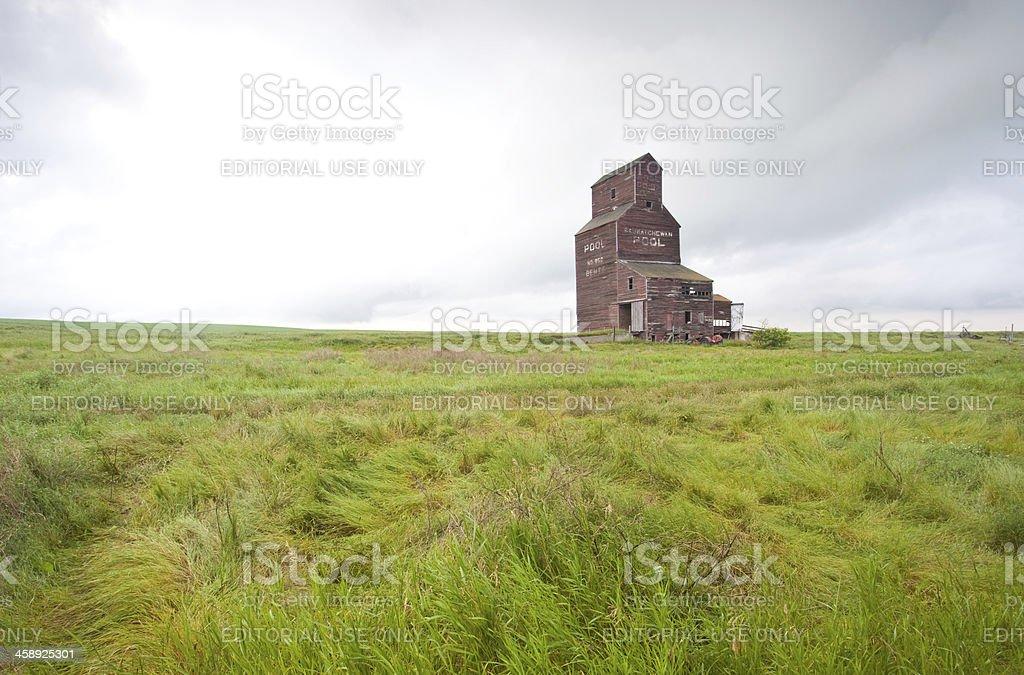 Prairie Grain Elevator in Fog royalty-free stock photo