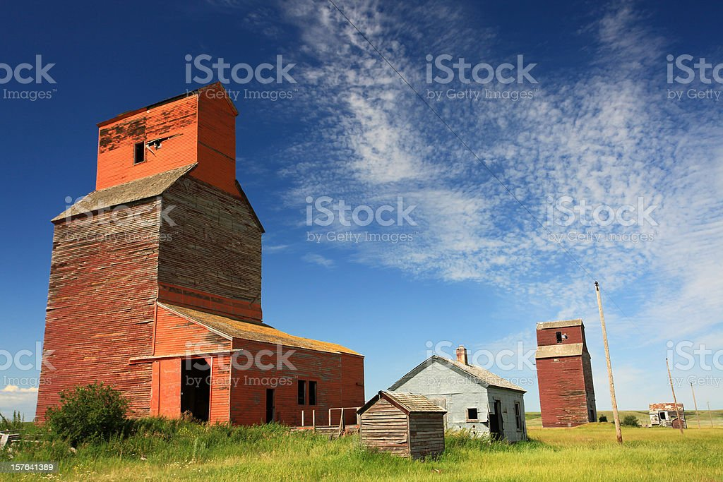 Prairie Grain Elevators in Saskatchewan Canada stock photo