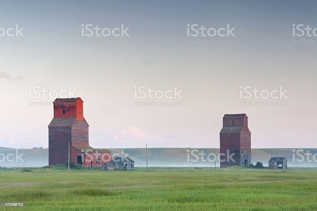 Prairie Grain Elevators stock photo