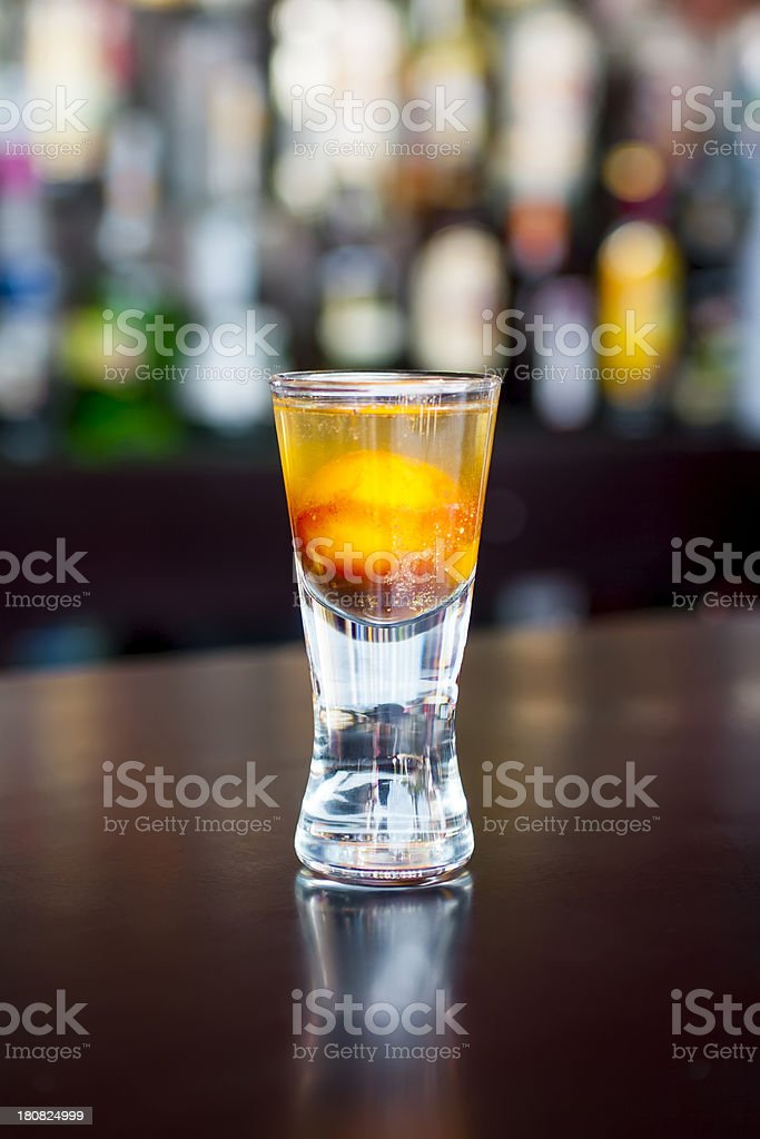 Prairie Oyster cocktail on the classic black bar table stock photo
