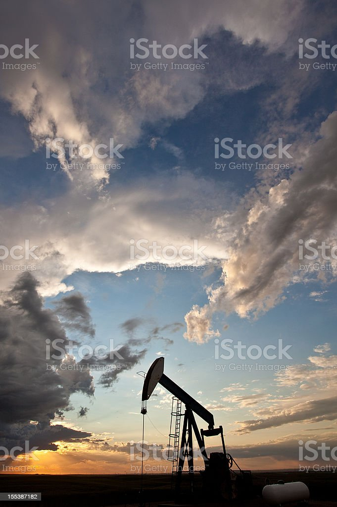 Prairie pumpjack in Alberta, Canada royalty-free stock photo