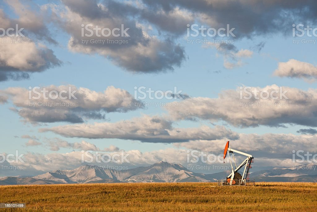 Prairie Pumpjack in Alberta Canada stock photo