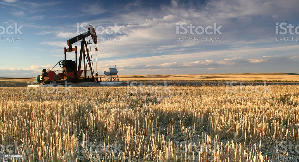 Prairie Pumpjack in Alberta Oil Industry stock photo