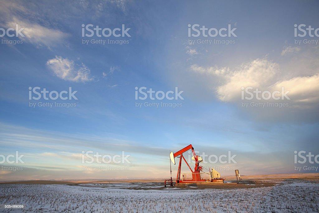 Prairie Pumpjack in Winter stock photo