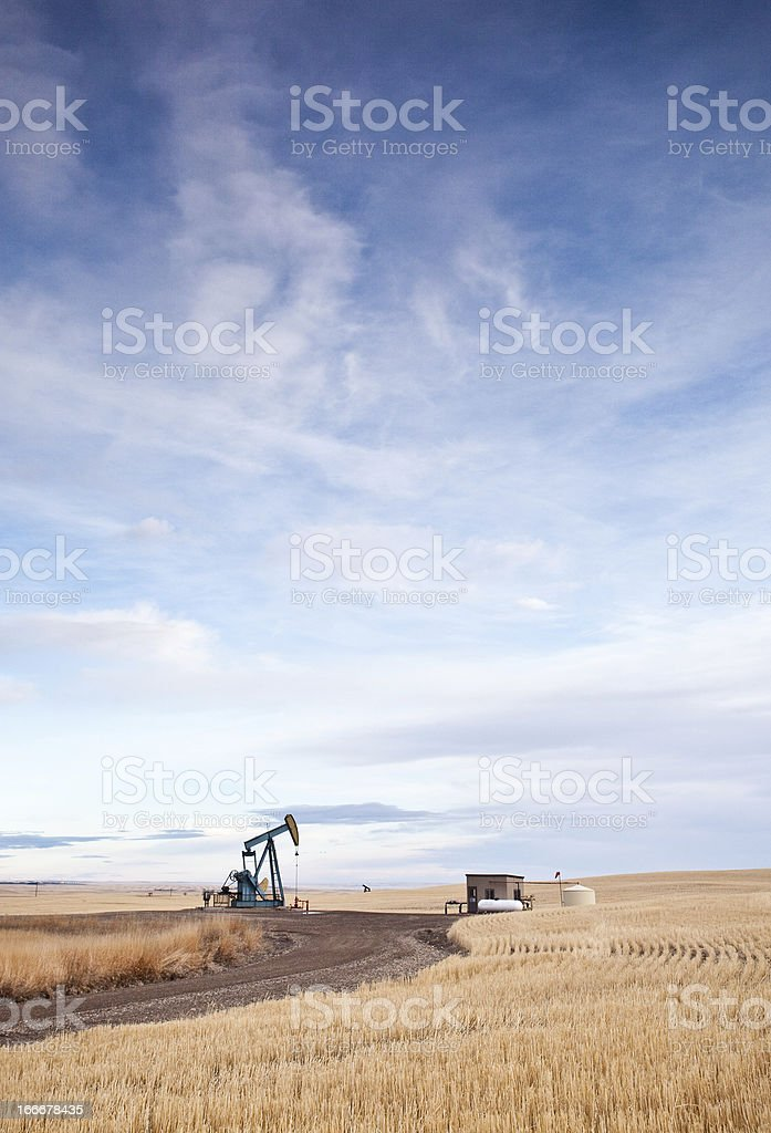 Prairie Pumpjack on the Plains Near Calgary Alberta stock photo