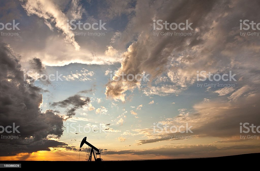Prairie Pumpjack Silhouette stock photo