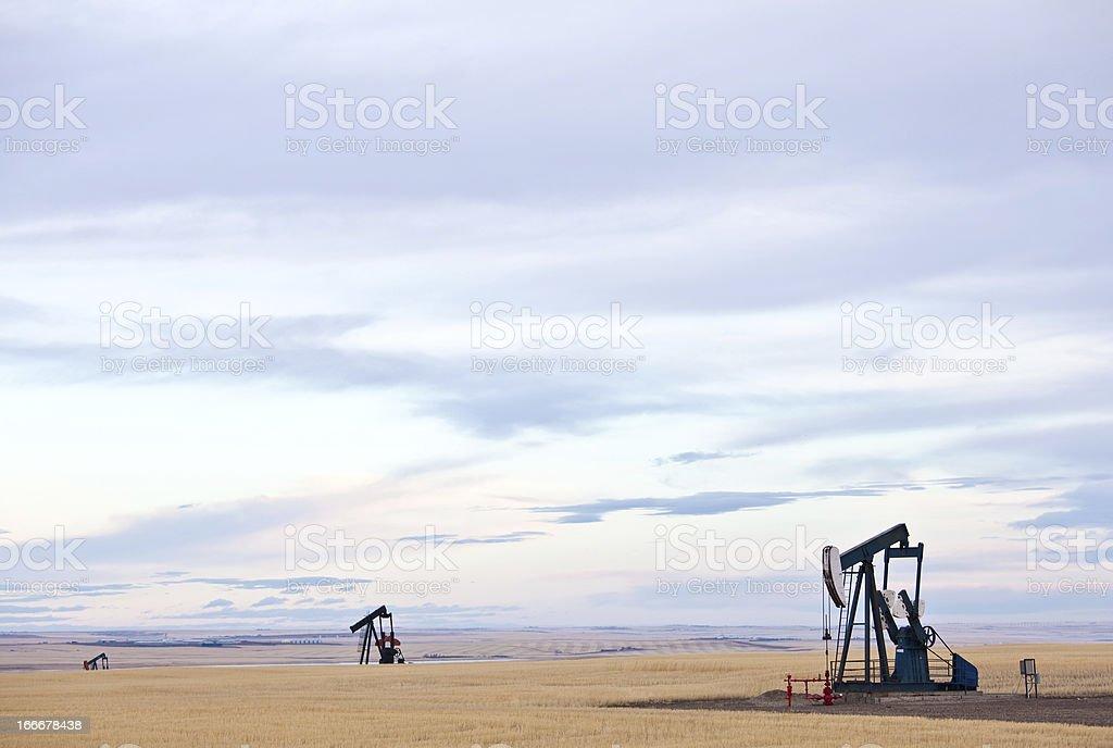 Prairie Pumpjacks Near Calgary Alberta stock photo