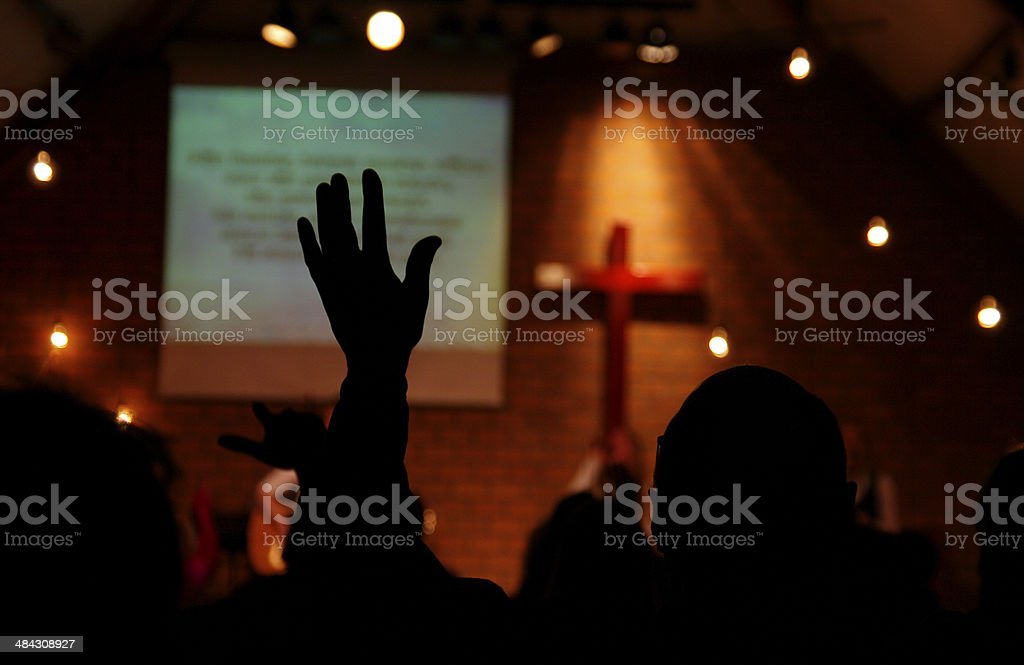 Praise event in a local Church stock photo