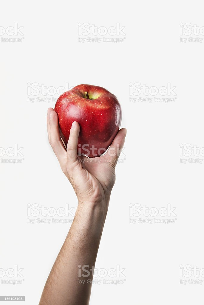 praising the Big Red delicious apple stock photo