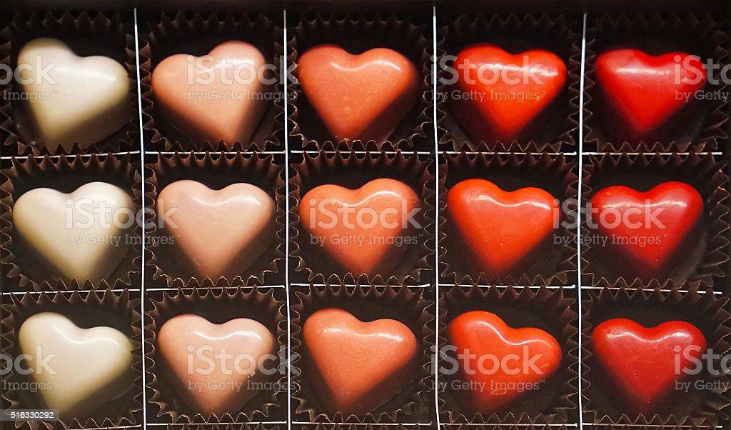 Praline hearts stock photo