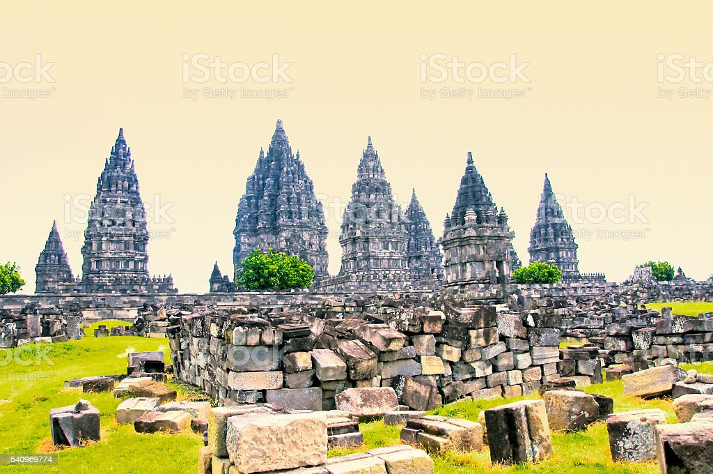 Prambanan temple near Yogyakarta on Java island, Indonesia stock photo