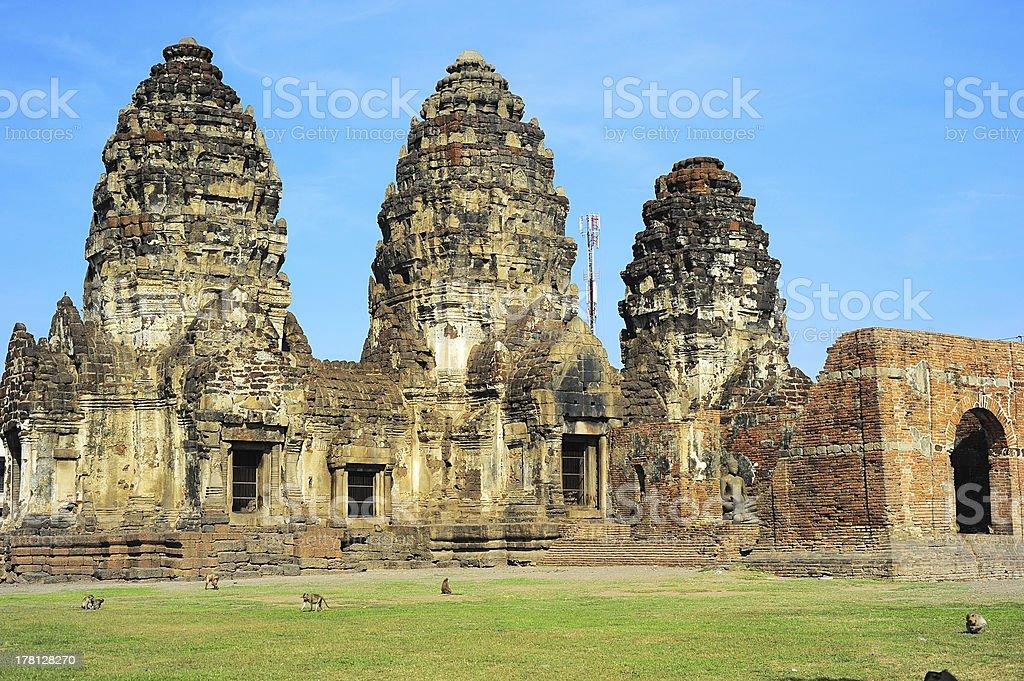 Prang Sam Yot temple stock photo