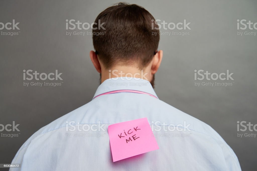 Pranked man stock photo