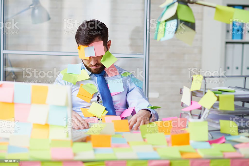 Pranked office worker stock photo