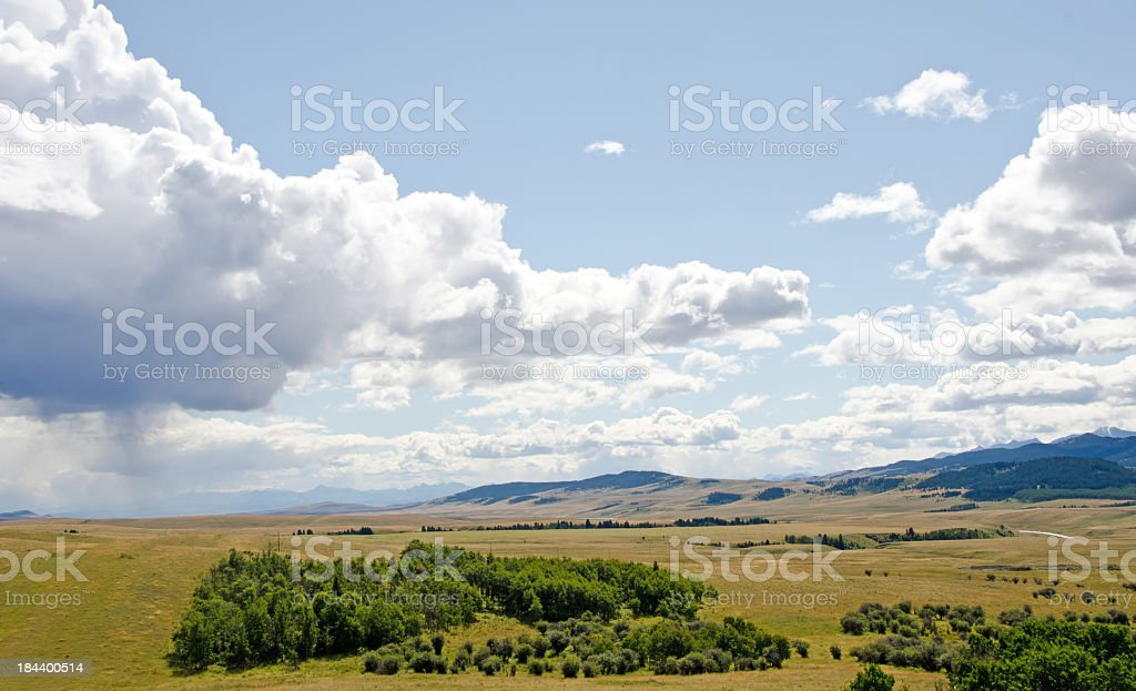 Prarie Landscape and Summer Rain royalty-free stock photo