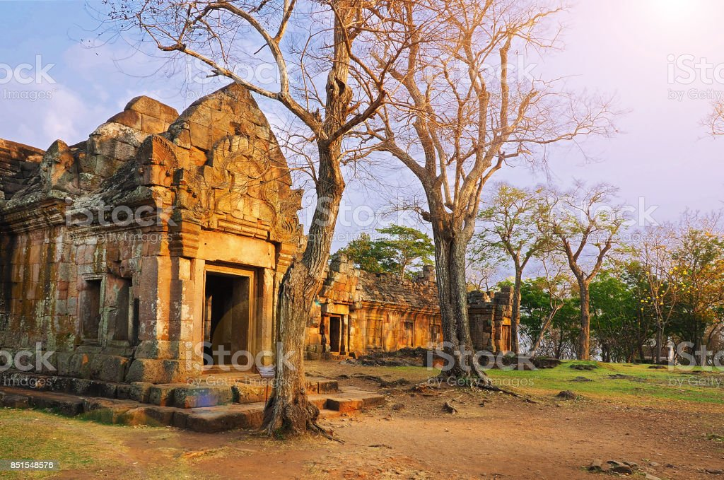 Prasat Hin Phanom Rung, a Ancient Cambodian Stone carving temple complex set with sun light shine in Phanom Rung Historical Park, Buriram province, Thailand stock photo