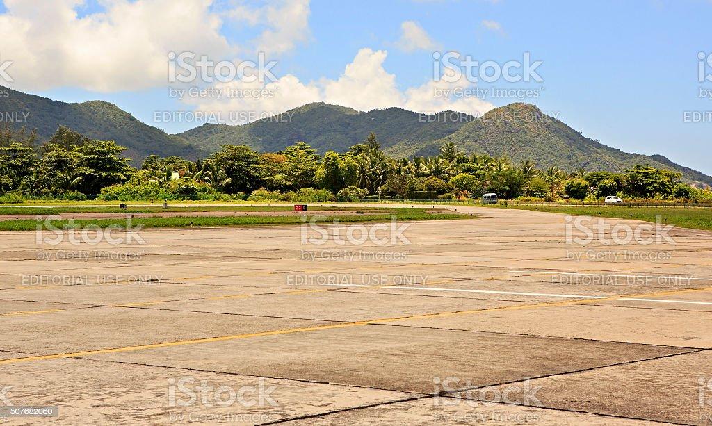 Praslin Island Airport also known as Iles des Palmes stock photo