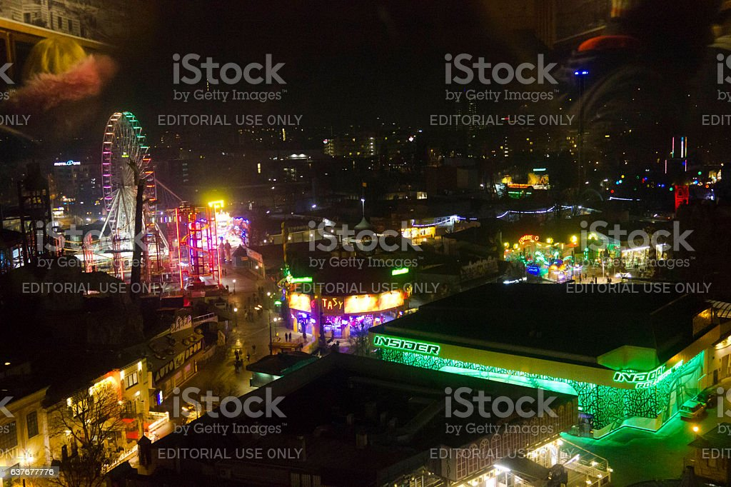 Prater amusement park in Vienna at night stock photo