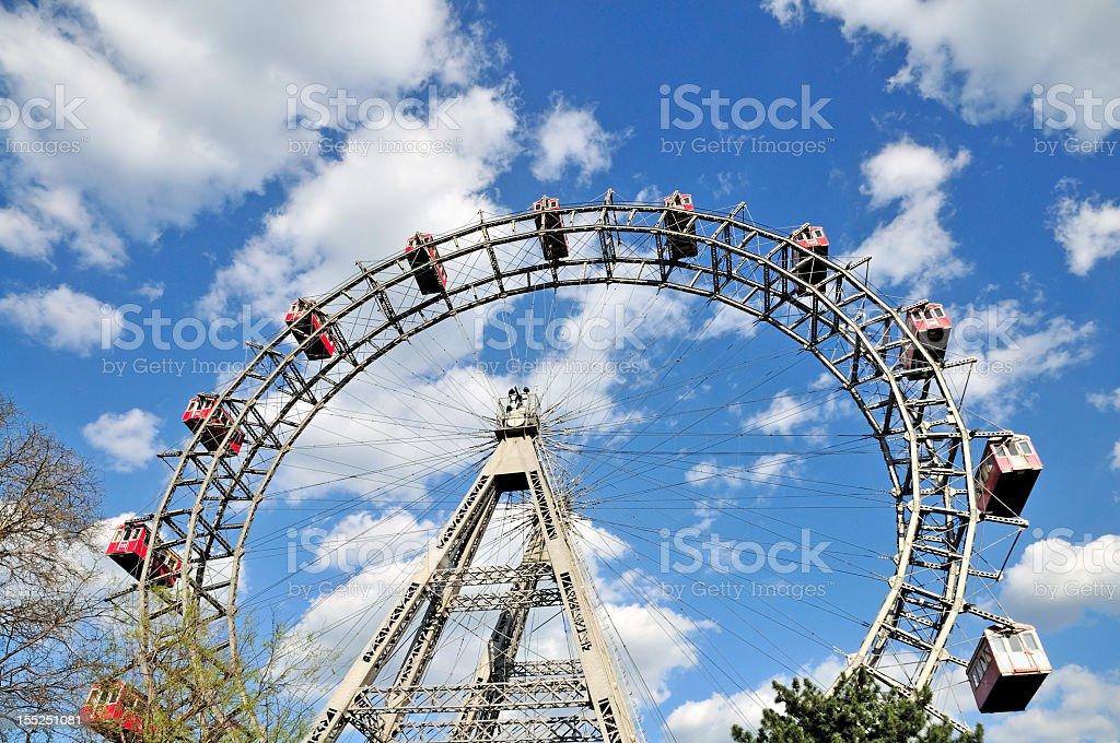 Prater Ferris Wheel against a Cloudy Sky, Vienna, Austria   royalty-free stock photo