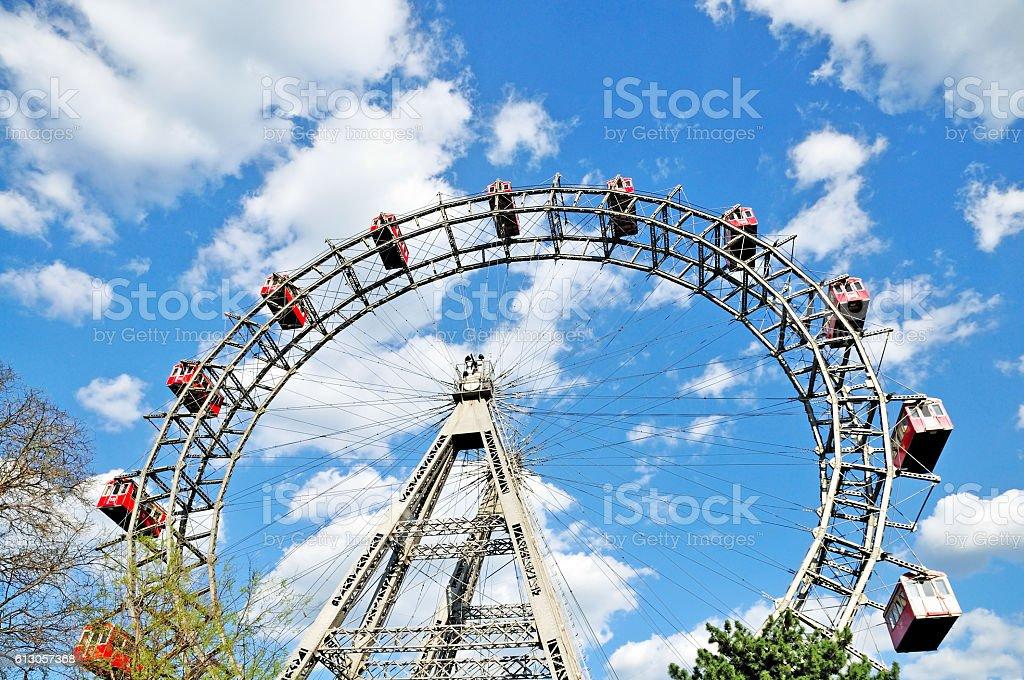 Prater Ferris Wheel against a Cloudy Sky, Vienna, Austria stock photo