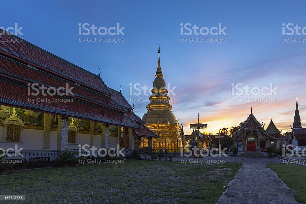 Prathat Hariphunchai Temple located in Lamphun , Thailand royalty-free stock photo