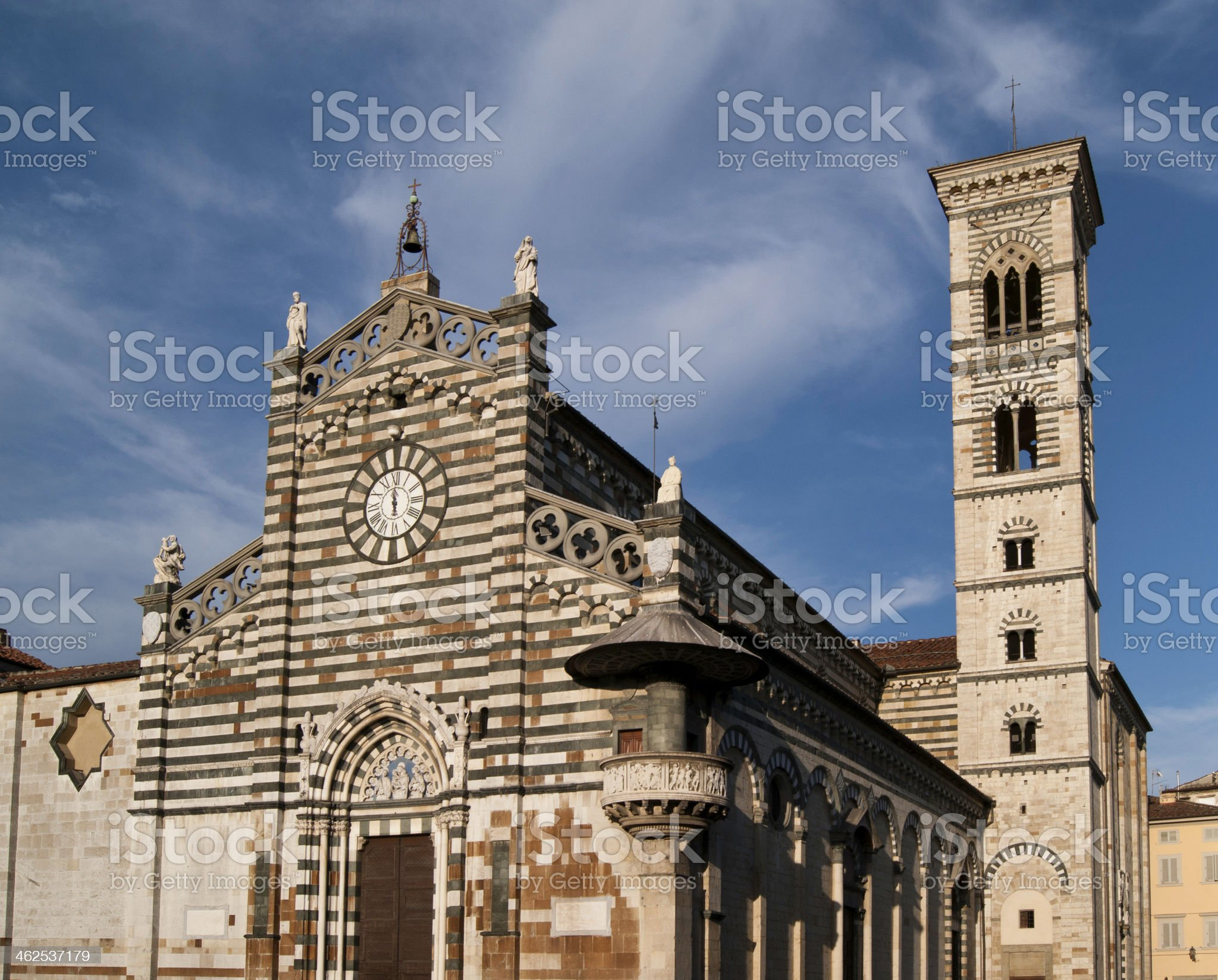 Prato Cathedral and tower bell royalty-free stock photo