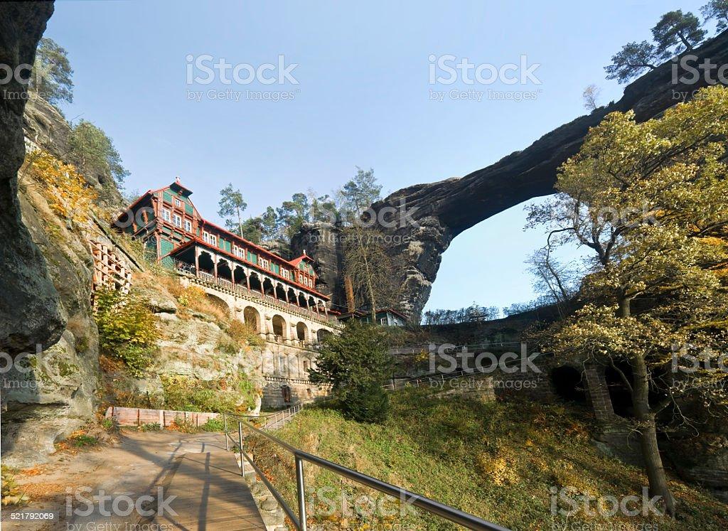 Pravcická brána - the largest natural sandstone arch in Europe stock photo