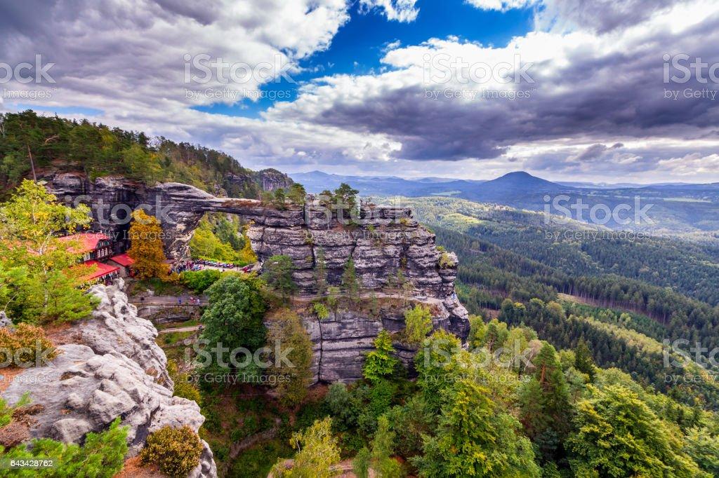 Pravcicka brana the largest natural sandstone arch in Europe in Czech Switzerland (Bohemian Switzerland or Ceske Svycarsko) National Park stock photo