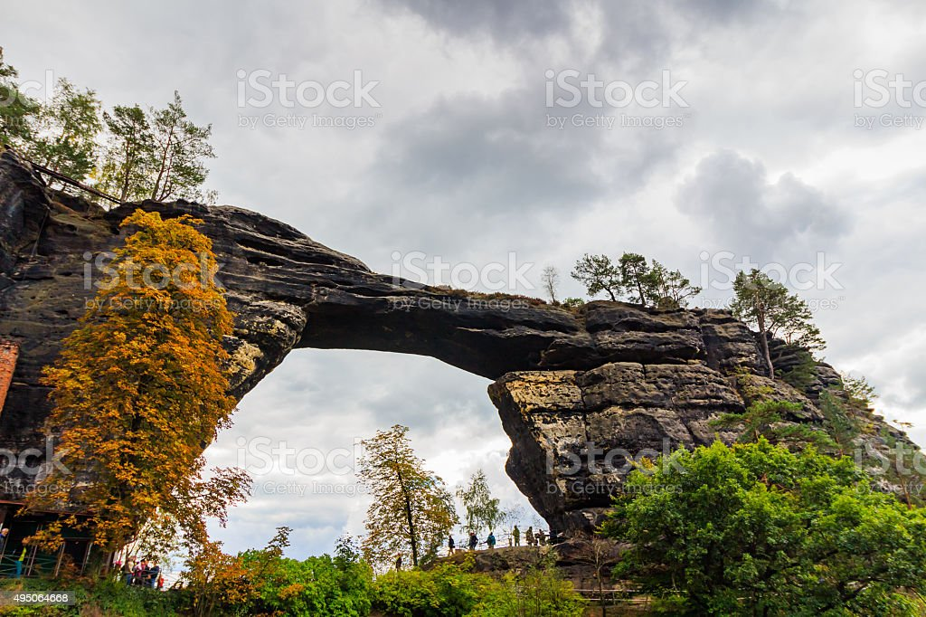 Pravcicka brana the largest natural sandstone arch in Europe stock photo
