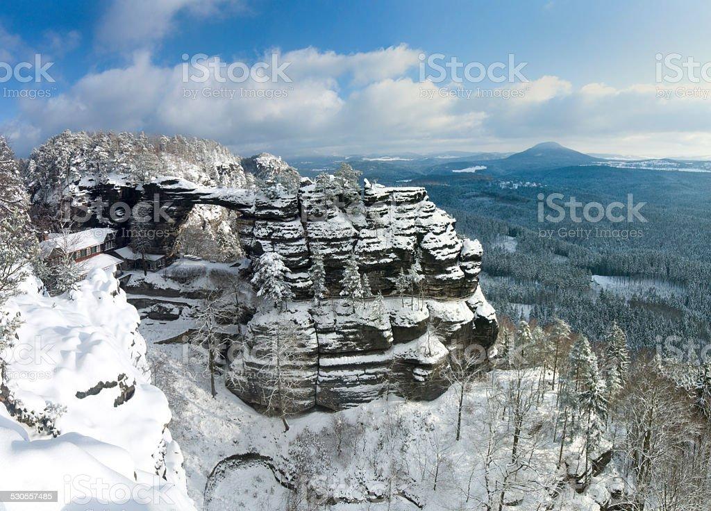 Pravčická brána in winter, Bohemian Switzerland stock photo