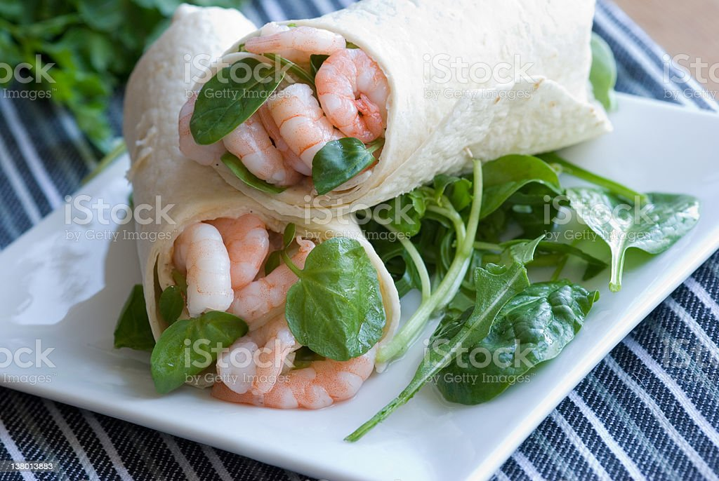 Prawn and lime mayo wrap royalty-free stock photo