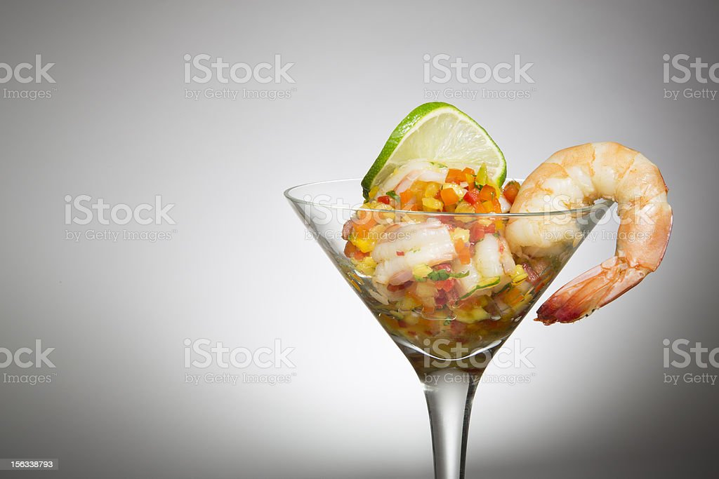 Prawn Ceviche in a Martini Glass with mixed veg royalty-free stock photo