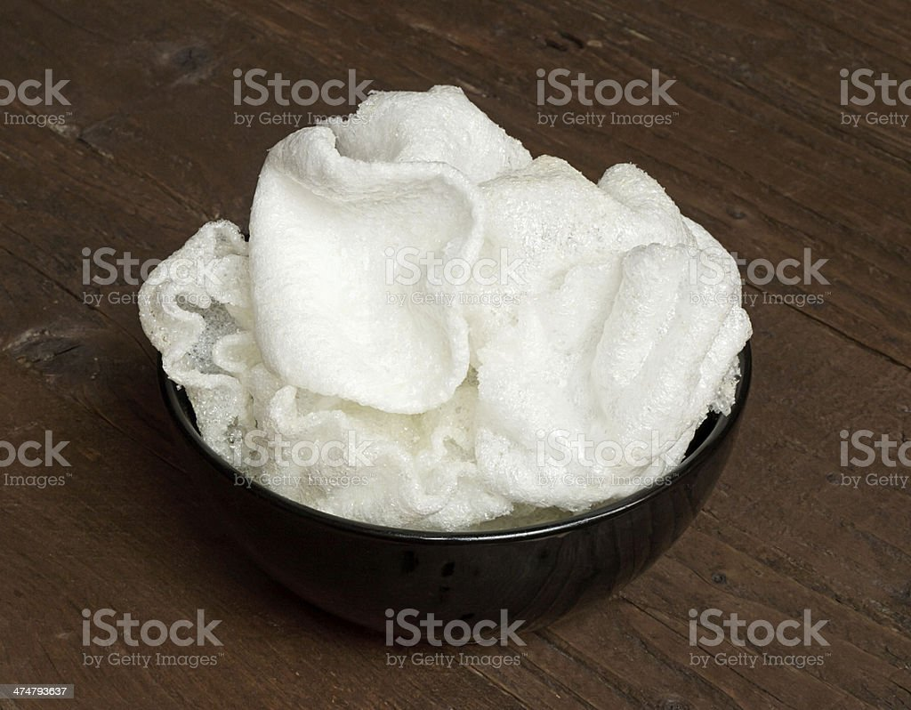 Prawn Crackers in a bowl stock photo