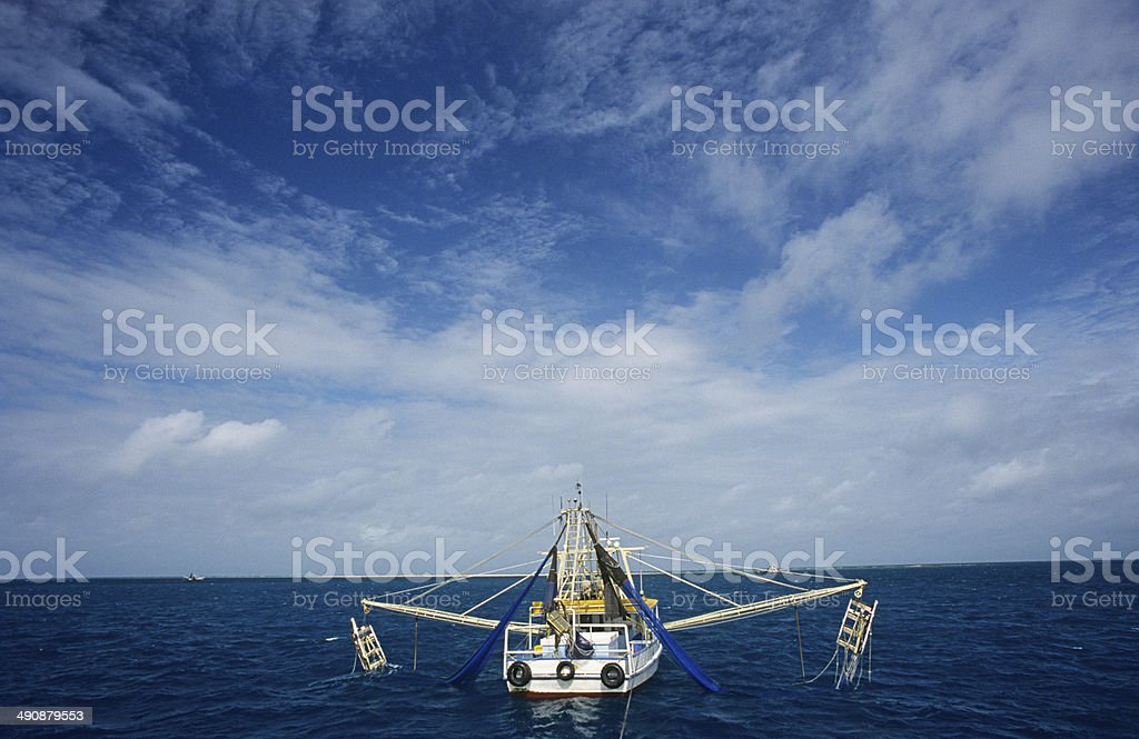 Prawn fishing trawler, Gulf of Carpentaria, Australia stock photo
