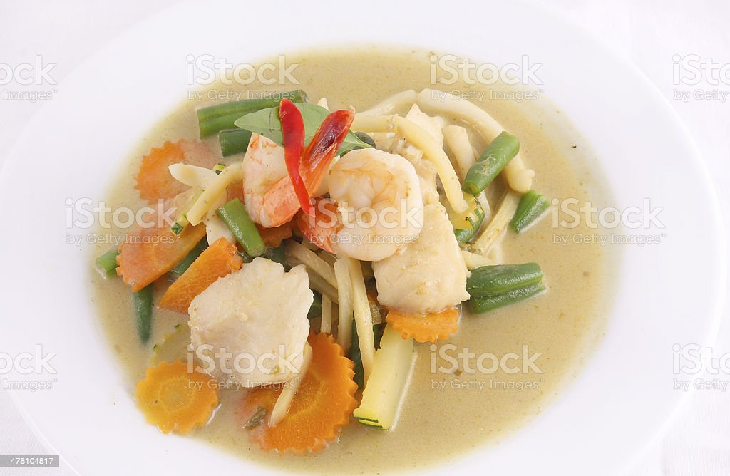 Prawn green curry, Thai popular food. royalty-free stock photo