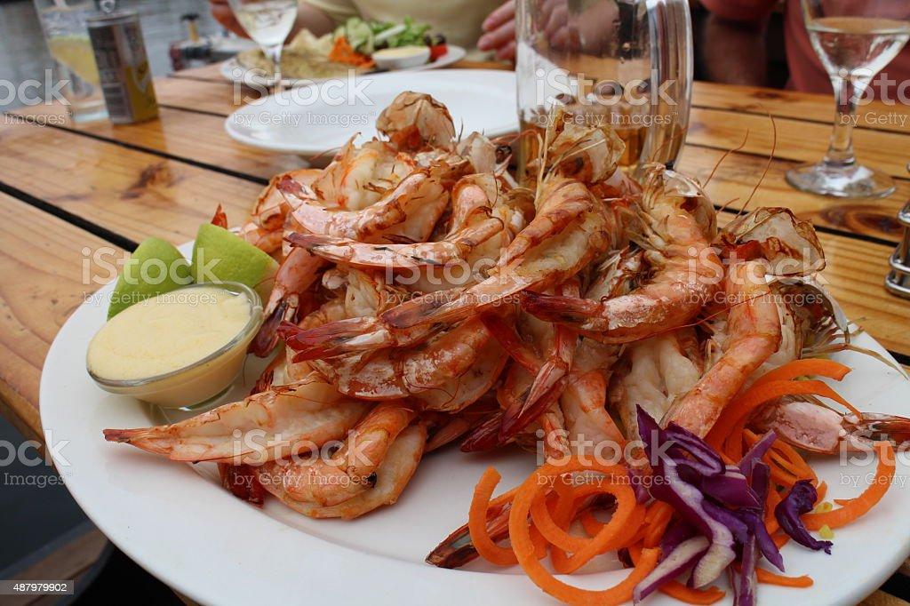 Prawn Lunch at V&A Waterfront stock photo