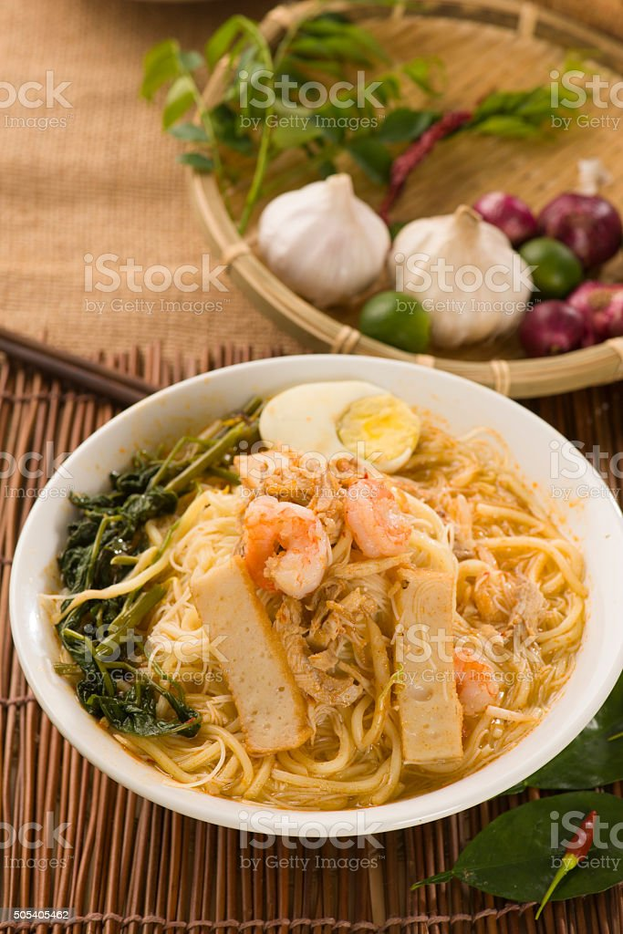 Prawn mee, prawn noodles. Famous Malaysian food spicy fresh cook stock photo