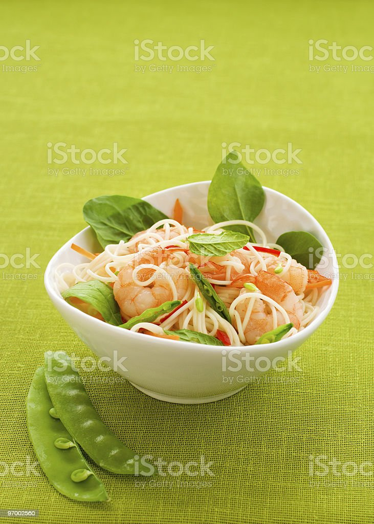 prawn noodle salad royalty-free stock photo