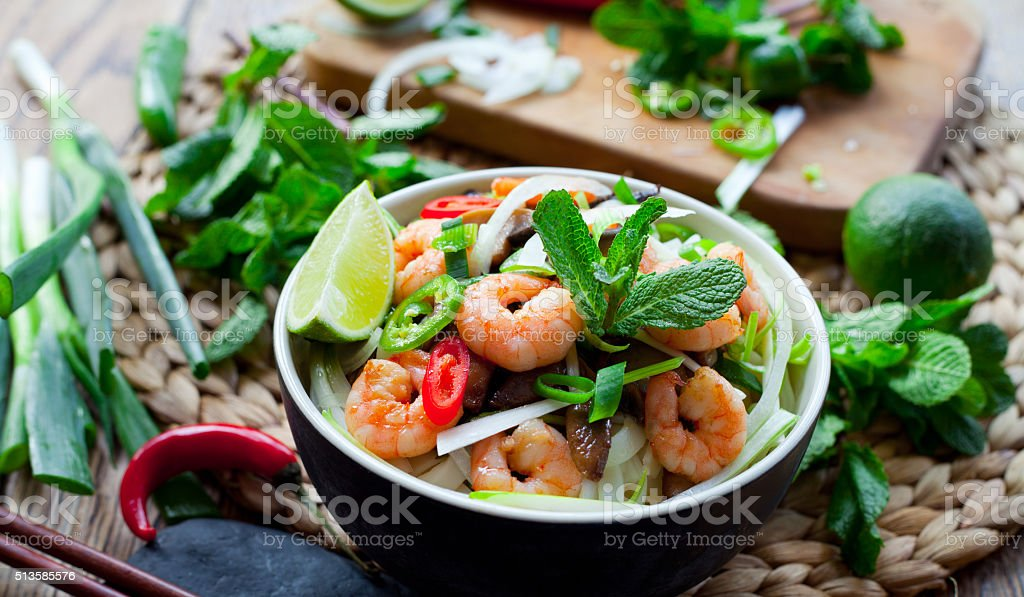 Prawn rice noodles asian food stock photo