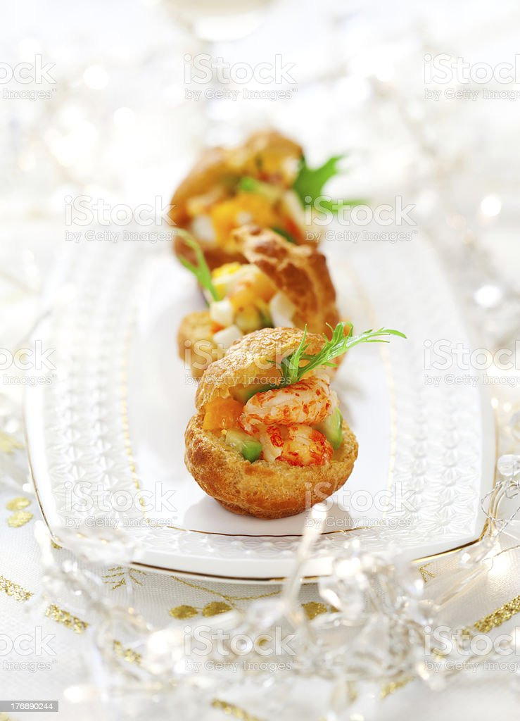 Prawn salad in mini-brioche for holiday royalty-free stock photo