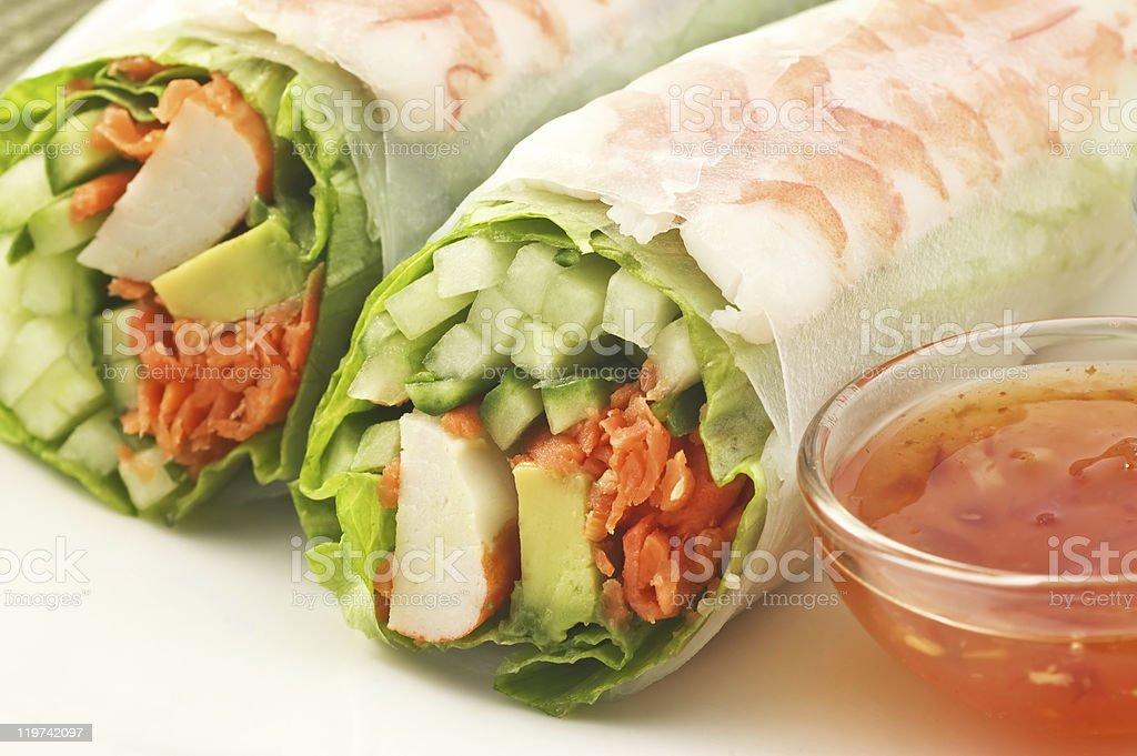 Prawn salad sushi roll royalty-free stock photo