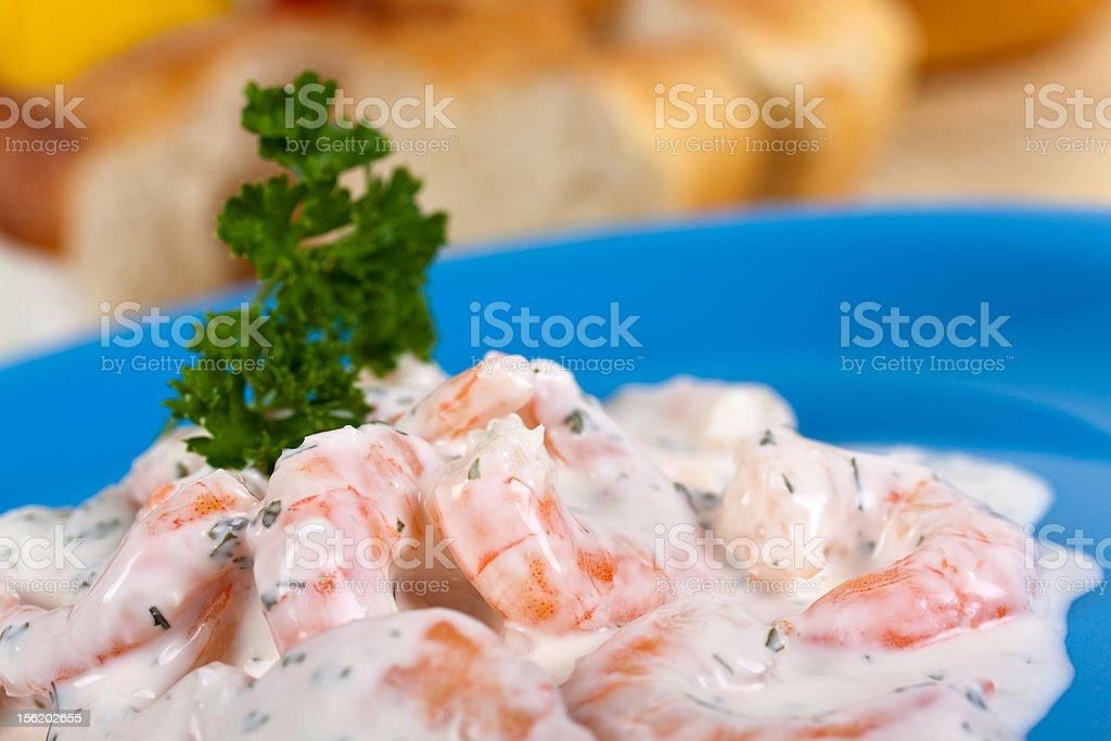 prawn salad with yogurt cream stock photo
