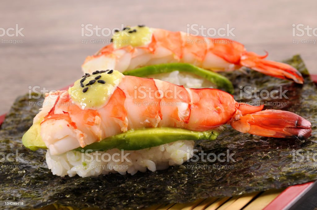 Prawn sushi stock photo