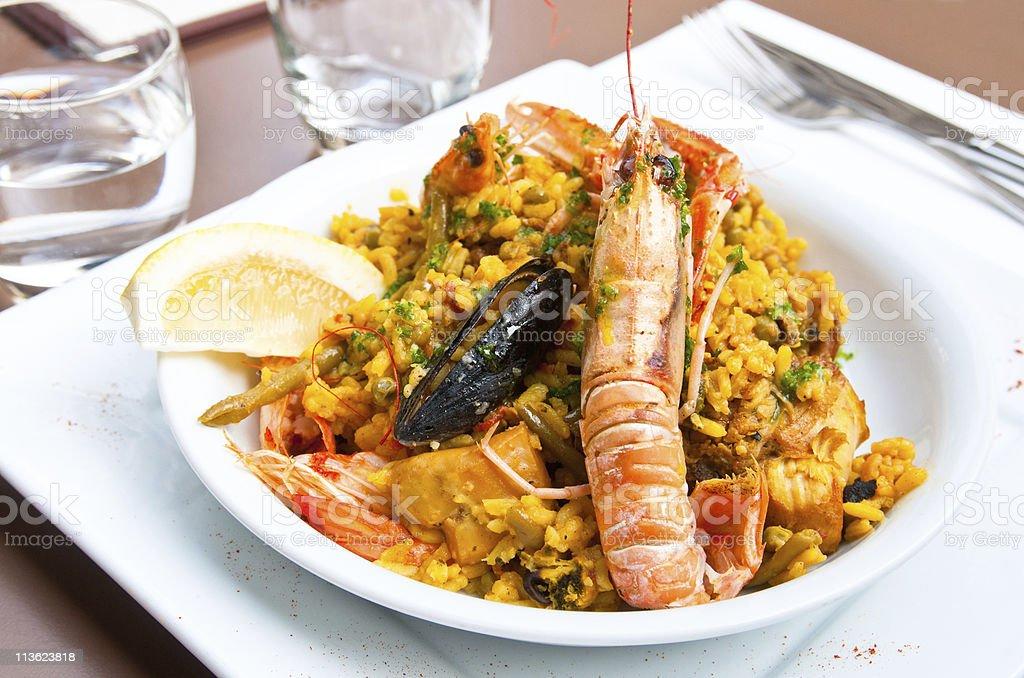 prawn with rice stock photo