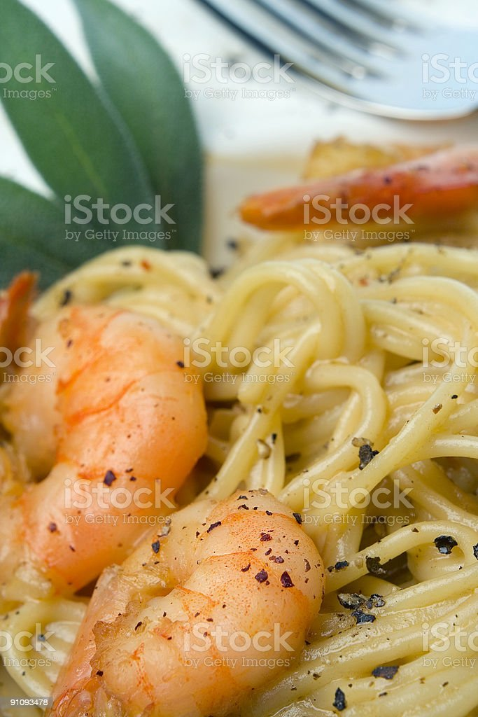 Prawns and Pasta series royalty-free stock photo