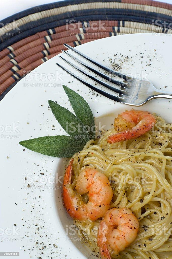 Prawns and Pasta series royalty-free stock photo